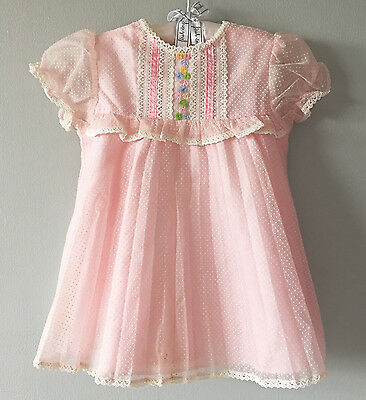 1970's Vintage Pink Chiffon Polka Dot Pleated Dress for Toddler Girl | Size 3T