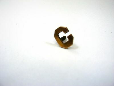 Vintage Collectible Pin: Letter C Block Design Screwback Gold Tone