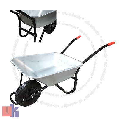 Wheelbarrow Garden Builders Galvanise Wheel Barrow Metal Truck Pneumatic Tyre