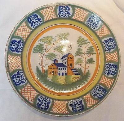 Super 18th Century Delft, Faience 13'' Charger, Good Colors And Building Scene