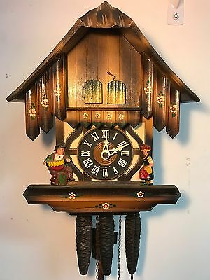 Vintage German Musical Music Man Wooden Cuckoo Clock Pine Cone Weights