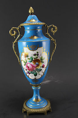 Antique French Urn Blue, Hand Painted, Enamel, Porcelain, Flowers, Signed