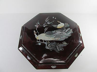 Chinese Octagonal Lacquered Wood Mother Of Pearl inlay