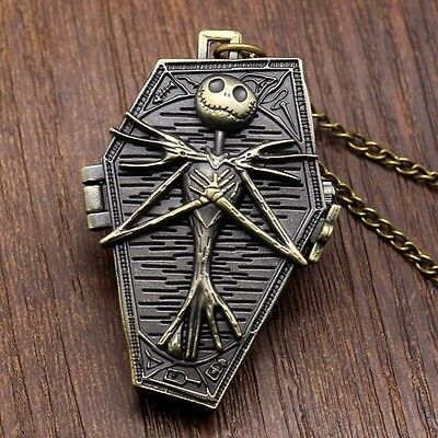 Tim Burton The Nightmare Before Christmas Jack Skellington Pocket Watch Necklace