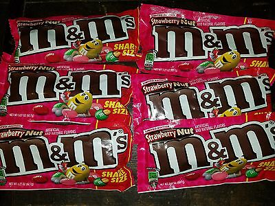 M&M Strawberry Nut Flavor Limited Edition Share Size 3.27 oz x6