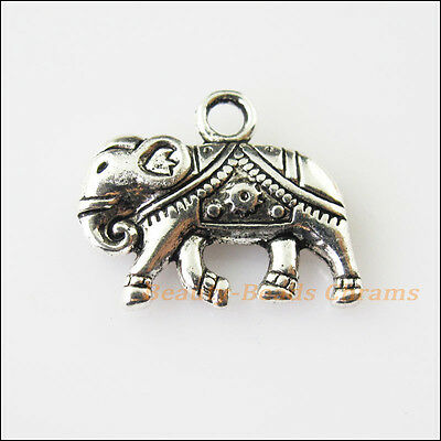 4 New Animal Heart Elephant Tibetan Silver Tone Charms Pendants 17x21mm