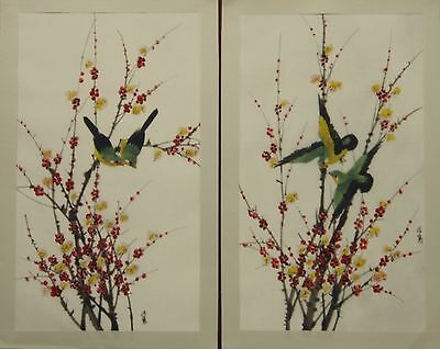 """PAIR prunus and birds by Ng Chok Lung painting on art. silk 16½""""x9½"""" AS007"""