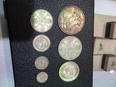 1887 Queen Victoria Jubilee Silver Specimen Coin Set Crown 5/- To Threepence 3d