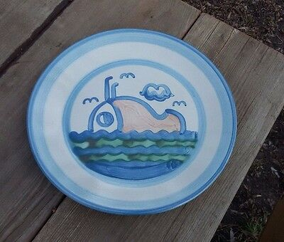"""Set of 5 M A Hadley SHIP & WHALE dinner plates 10-7/8"""""""