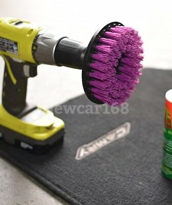 "Hard Scrub Brush Car Seat Carpet Mat 5"" Round Brush w/ 3 Power Drill Attachment"