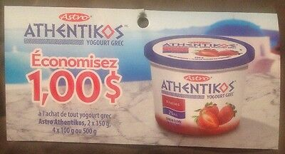 Lot 10 x 1.00$ Astro ATHENTIKOS Yogourt GREEK Products Canada Coupons