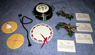 American Girl Kit Waffle Iron Set with Swags, Recipes, Cord COMPLETE!