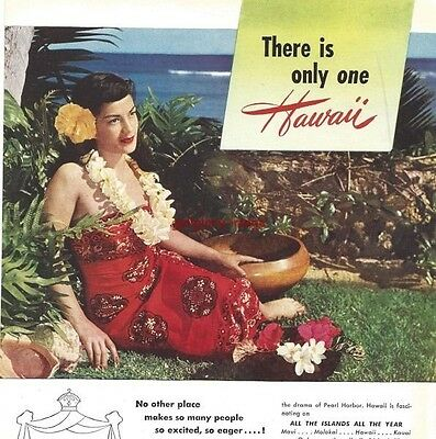 1948 Hawaii Vacation Vintage Print Ad Come To All The Islands All The Year