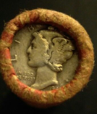 Wheat penny roll with Mercury dimes full 50 coin roll sealed tightly crimped