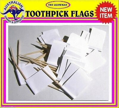 White flag blank toothpicks for cooking cupcakes cocktails parties & party