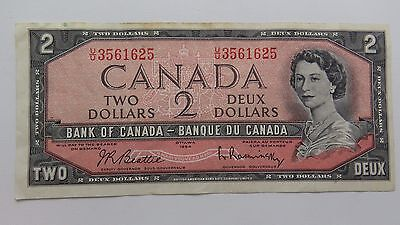 Nice Crisp Lightly Circulated 1954 CANADA Two Dollar Bank Note