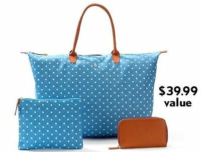 NEW 3 Piece Set Large Tote, Cosmetic Bag & Wallet