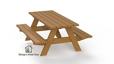 Easy DIY Traditional Picnic Table - Design Plan Instructions