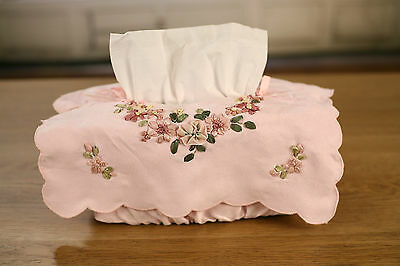 Pink Faux Suede Tissue Box Cover with Ribbon Embroidery. BRAND NEW.