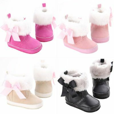 Winter Toddler Baby Girls Snow Booties Infant Soft Sole Crib Shoes Boots 0-18M