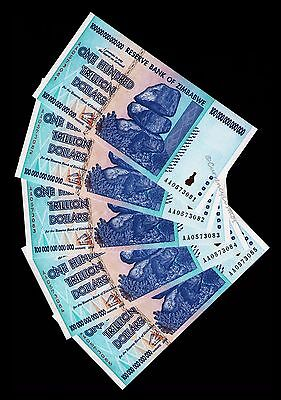 5 x 100 Trillion Zimbabwe Dollars Bank Notes About Uncirculated AUNC ~Low Price!
