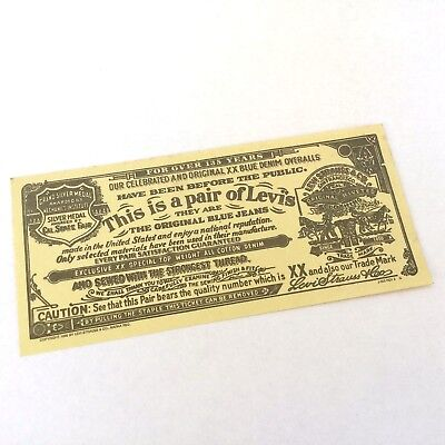 Vintage 1966 Levi's Jeans Guarantee Ticket - Collectible Paper Tag Levi Strauss