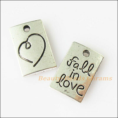 "6 New Heart ""Fall In Love"" Tibetan Silver Tone Charms Pendants 10x15.5mm"