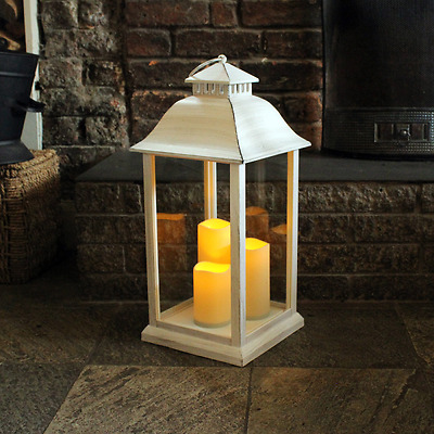 Medium Battery Operated Indoor Candle Lantern in White - 61cm High