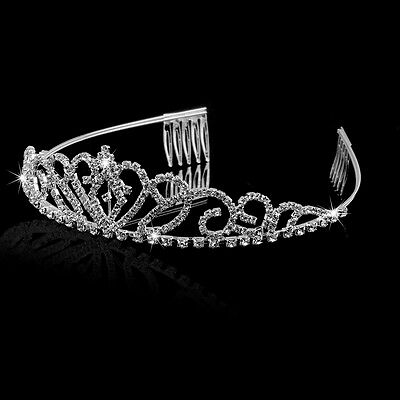 Wedding Bridal Princess Pageant Rhinestone Tiara Crown Hairband Hair Loop Comb