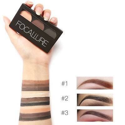 Focallure Eyebrow Powder 3 Colors Eye brow Powder Palette Waterproof and Smudge