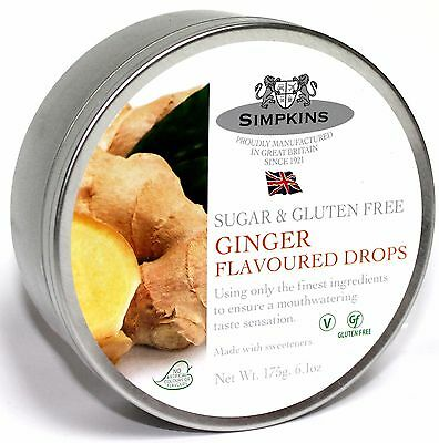 Simpkins Sugar Free Travel Sweets Tin - Ginger   Drops 175g