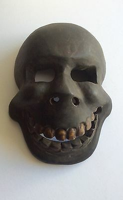 SKULL MASK HEADDRESS Wooden Tribal Mask Ethnographic Skeleton