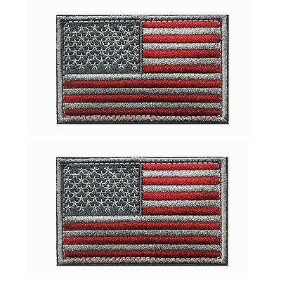 Tactical USA Flag Patch -Subdued Silver- Velcro American Flag Embroidered Red...