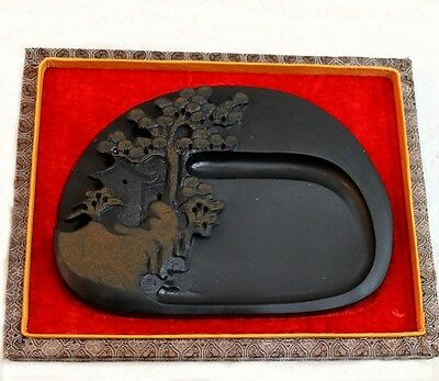 Chinese high-quality She Yan ink stone carving Huangshan Pine Tree with gift box