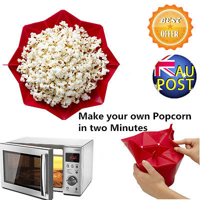 DIY Popcorn Popper Maker DIY Silicone Microwave Popcorn Maker Bucket AU MP
