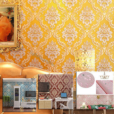 10M 3D Damask Luxury Glitter Wallpaper Embossed Textured Feature Wall Decor Roll