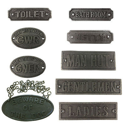 CAST IRON SIGN PLAQUES Vintage Antique Retro Shabby Industrial Chic Plaque Signs