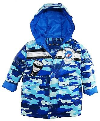 Wippette Toddler Boys Waterproof Hooded Camo with Rescue Chopper Raincoat Jacket