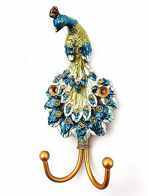 Metal Peacock Key Rack Holder Wall Hook Art Coat Hat Hanger Handmade 14 cm