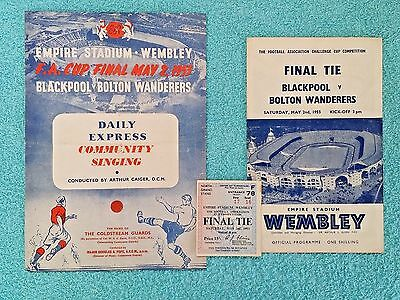1953 - FA CUP FINAL PROGRAMME + SONGSHEET + MATCH TICKET - BLACKPOOL v BOLTON