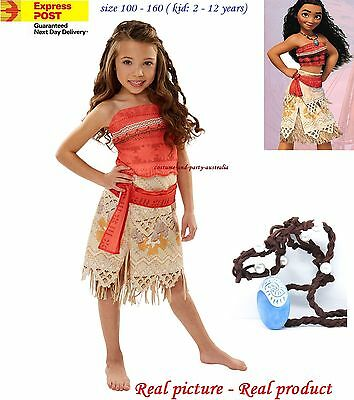 MO1 Kid Girl Polynesia princess Moana Party birthday Cartoon Costume Dress Up
