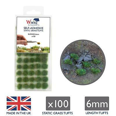 WWS Summer 6mm Self Adhesive Static Grass Tufts x 100 Wargame Railway sumgt6100