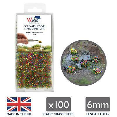 WWS Mixed Flower 6mm Self Adhesive Static Grass Tufts x 100 Railway Mixgt6100