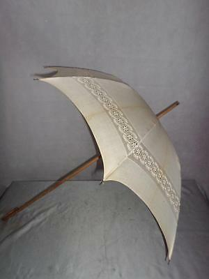 *Vintage White Parasol - Bridal Wedding - Bramble Cane and crook handle*