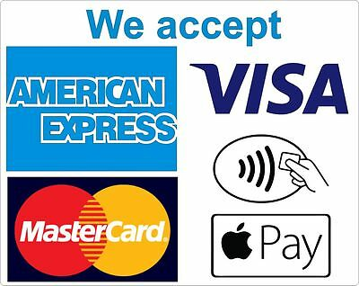 We Accept Card Payments Contactless 3 Vinyl  Laminated Stickers Shop Taxi etc