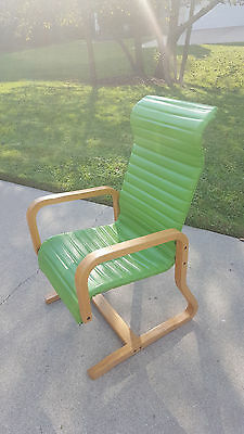 Incredible Mid Century Vintage bentwood green vinyl chair!! A Must See!!
