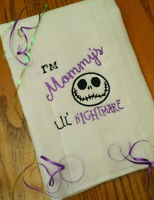 NIGHTMARE BEFORE CHRISTMAS BABY BURP CLOTH Mommy's  Lil NiGhTMaRe BaBy Gift!