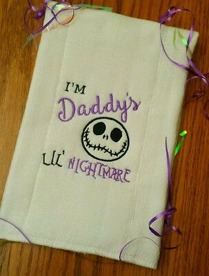NIGHTMARE BEFORE CHRISTMAS BABY BURP CLOTH I'm DADDY's Lil NiGhTMaRe BaBy Gift!