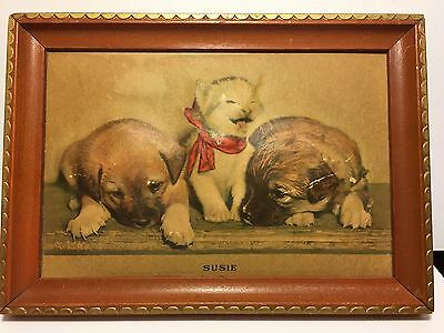Antique/Vintage SUSIE Kitten with Bow Puppies 3D Puffed Framed Print Cats Dogs