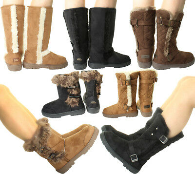 New ELLA Womans Winter Snow Warm Flat Ankle Knee Calf High Fur Lined Boots Shoes